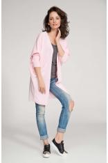 Różowy Sweter Lekki Długi bez Zapięcia