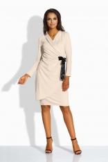 Beżowa Sukienka Kopertowa z Satynową Kokardą na Boku