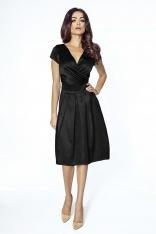 Czarna Wieczorowa Sukienka Midi z Kopertowym Dekoltem