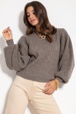 Sweter w Prążki z Bufiastym Rękawem - Latte