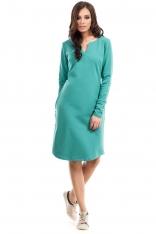Zielona Sukienka Trapezowa z Długim Rękawem