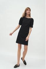 Krótka Sukienka z Bufkami - Czarna