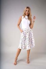 Rozkloszowana Midi Spódnica z Falbaną - Kolorowe Plamki