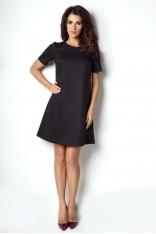 Czarna Sukienka Trapezowa z Krótkim Rękawem