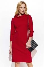 Czerwona Minimalistyczna Sukienka z Wywijanym Dekoltem