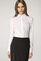 Biała Elegancka Koszula z Wstawkami