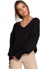 Sweter V- Neck z Szerokim Ściągaczem - Grafitowy