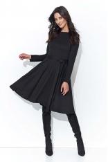 Czarna Rozkloszowana Klasyczna Sukienka Dzianinowa z Paskiem
