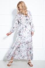 Maxi Sukienka w Pastelowe Kwiaty z Kopertowym Dekoltem