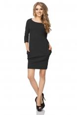 Czarna Sukienka z Drapowaniem i Kieszeniami