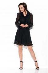 Zwiewna Szyfonowa Sukienka z Żabotem - Czarna