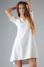 Biała Elegancka Rozkloszowana Sukienka z Wydłużonym Tyłem
