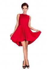 Czerwona Sukienka Elegancka Mocno Rozkloszowana z Wydłużonym Tyłem