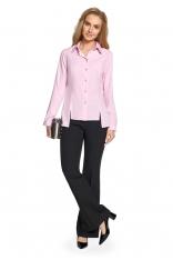 Różowa Klasyczna Koszula Damska z Wydłużonymi Bokami