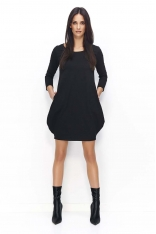 Czarna Dresowa Mini Sukienka Bombka