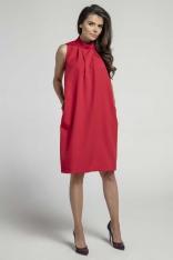 Czerwona Nowoczesna Luźna Sukienka bez Rękawów ze stójką