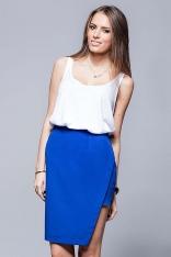 Niebieska Oryginalna Asymetryczna Spódnica Ołówkowa
