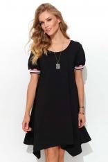 Asymetryczna Sukienka z Taśmami - Czarna
