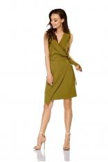 Khaki Kopertowa Asymetryczna Sukienka Wiązana w Tali