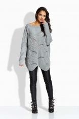 Jasnoszary Sweter Oversizowy z Nieregularnym Dołem