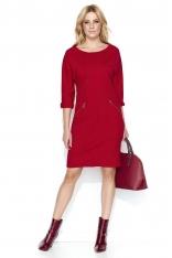 dc625d1e67 Czerwona Wyjściowa Midi Sukienka z Przeszyciami z Rękawem 3 4 - Molly.pl