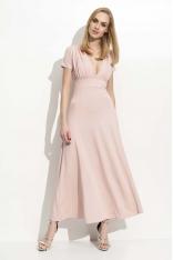 Różowa Długa Sukienka z Głębokim Dekoltem