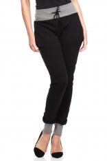 Czarne Dresowe Spodnie z Kontrastowymi Ściągaczami