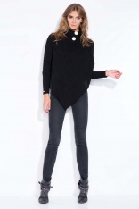 Czarne Poncho-Sweter z Golfem z Guzikami