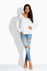 Biały Luźny Sweter z Ozdobnymi Tasiemkami