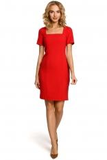 Czerwona Elegancka Ołówkowa Sukienka z Dekoltem Karo z Krótkim Rękawem