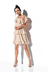 Zwiewna Sukienka Wiązana na Jedno Ramię - Beżowa