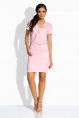 Różowa Ołówkowa Sukienka z Kopertowym Dekoltem