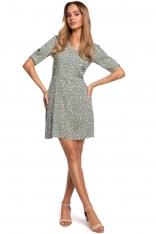 Krótka Sukienka w Kwiatki z Zakładką na Rękawie - Model 7