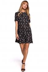 Luźna Sukienka w Kwiatki z Dekoltem na Plecach - Model 8