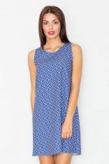 Żakardowa Sukienka bez Rękawów w Geometryczny Wzór 34