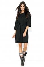 Czarna Luźna Casualowa Sukienka z Szerokimi Rękawami