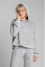 Pluszowa Bluza z Kapturem - Popielata