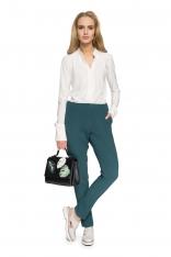 Zielona Klasyczne Spodnie w Kant na Gumie