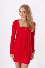 Czerwona Dzianinowa Sukienka z Dekoltem Caro z Długim Rękawem
