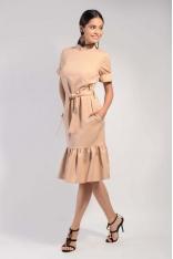 Beżowa Midi Sukienka na Stójce z Falbankami