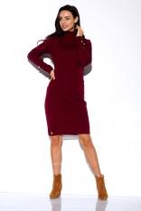 Bordowa Swetrowa Sukienka z Golfem Ozdobiona Guzikami