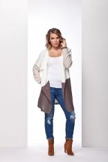 Dłuższy Trójbarwny Sweter z wolnymi Połami Ecru / Beżowy / Cappuccino