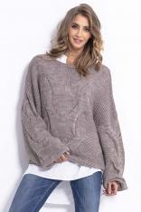 Latte Luźny Oversizowy Sweter w Przeplatane Warkocze