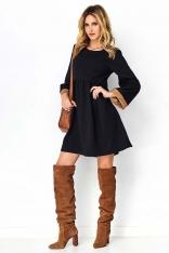 Czarno Kamelowa Sukienka z Rozkloszowanym Rękawem z Eko-Skórą