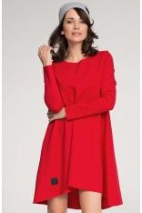 Czerwona Trapezowa Sukienka z Dzianiny z Przedłużonym Tyłem