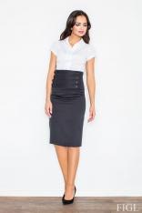 Czarna Elegancka Ołówkowa Midi Spódnica z Wysokim Stanem