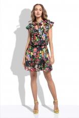 Czarna Letnia Sukienka z Tropikalnym Wzorem z Ozdobnymi Falbankami