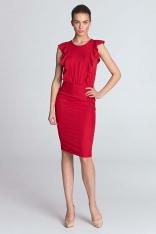 Czerwona Sukienka z Pionowymi Falbankami