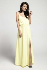 Żółta Zwiewna Maxi Sukienka na Cienkich Ramiączkach z Rozcięciem