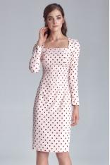 Kremowa Sukienka w Grochy z Dekoltem Karo